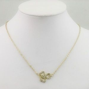 Gold Plated Heart Leaf Clover Necklace